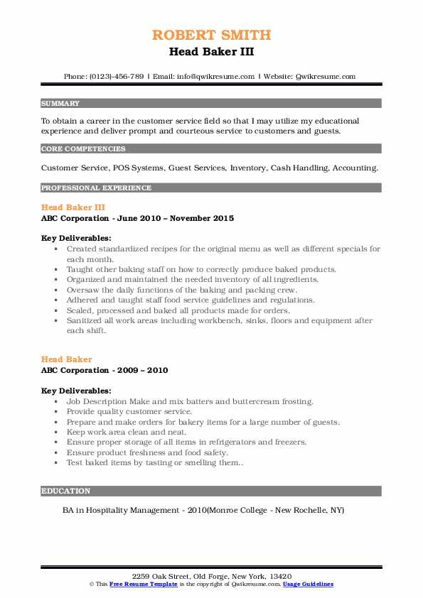 Head Baker III Resume Format