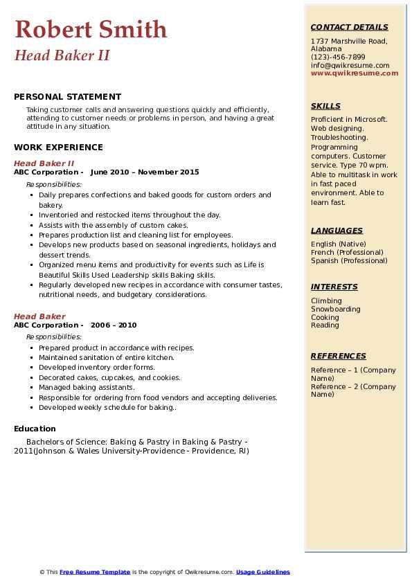 Head Baker II Resume Example