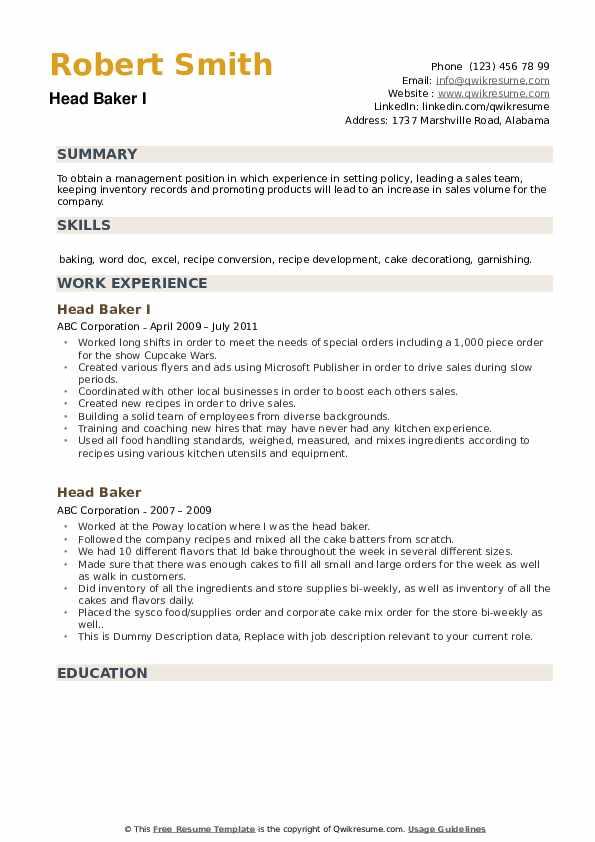 Head Baker I Resume Format
