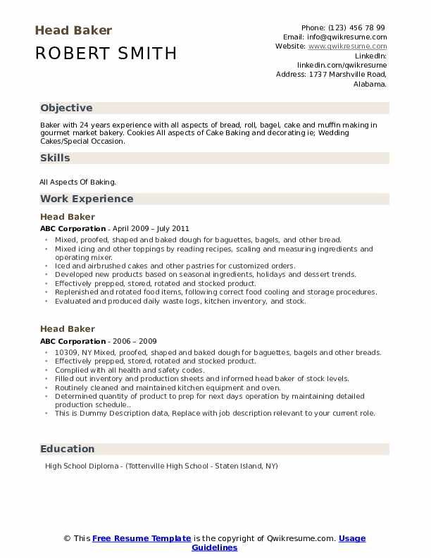 Head Baker Resume example