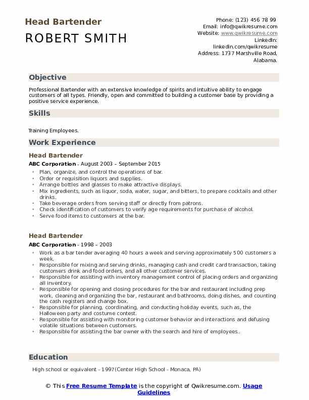 Head Bartender Resume Samples