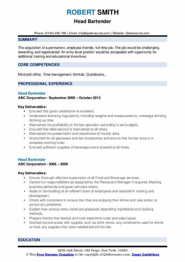 Head Bartender Resume Samples | QwikResume