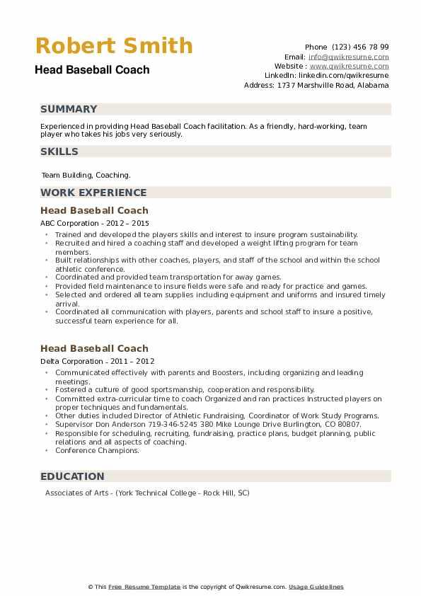 Head Baseball Coach Resume example