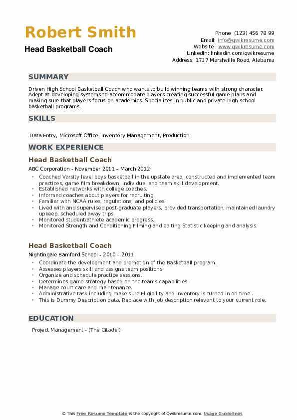 head basketball coach resume samples  qwikresume