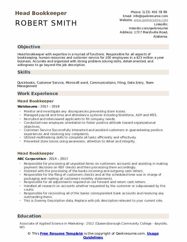 Head Bookkeeper Resume example