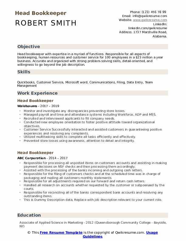 Head Bookkeeper Resume example