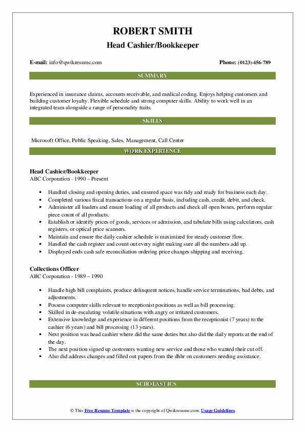 Head Cashier/Bookkeeper Resume Example