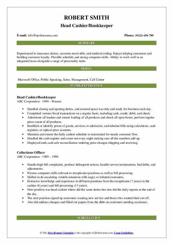 Head Cashier/Bookkeeper Resume Model