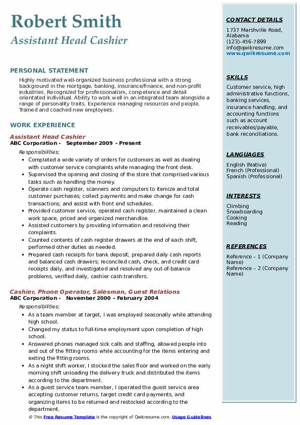 Assistant Head Cashier Resume Example