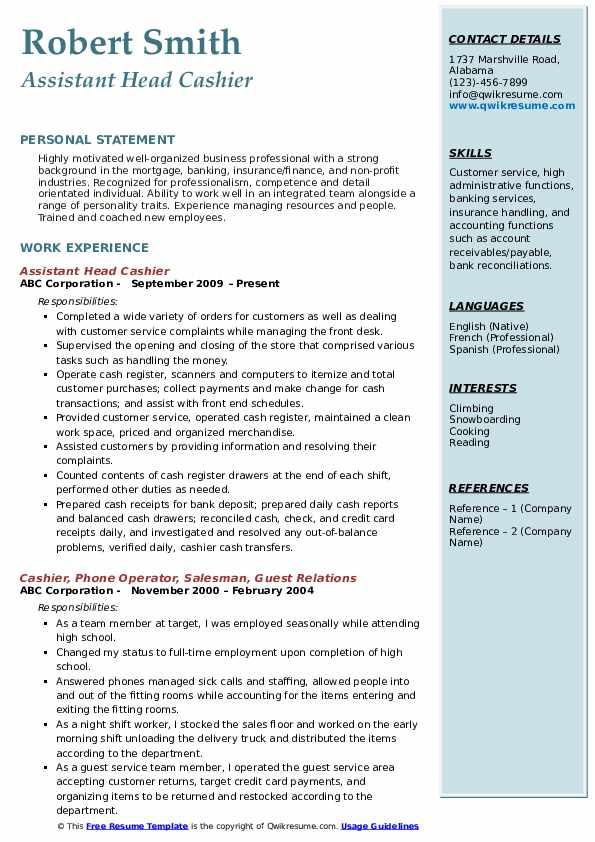 head cashier resume samples