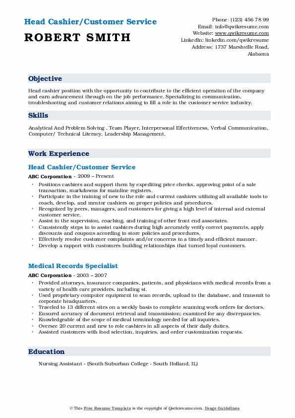 Head Cashier/Customer Service Resume Format