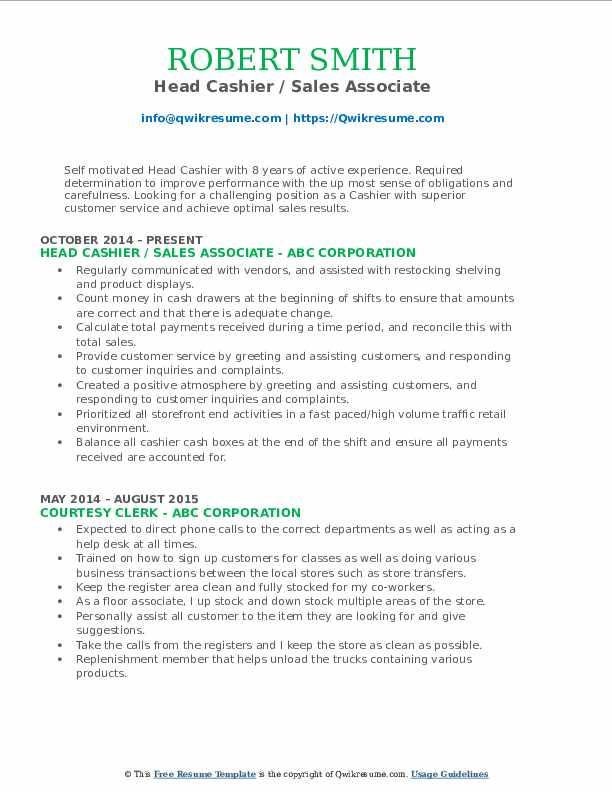 Head Cashier / Sales Associate Resume Template