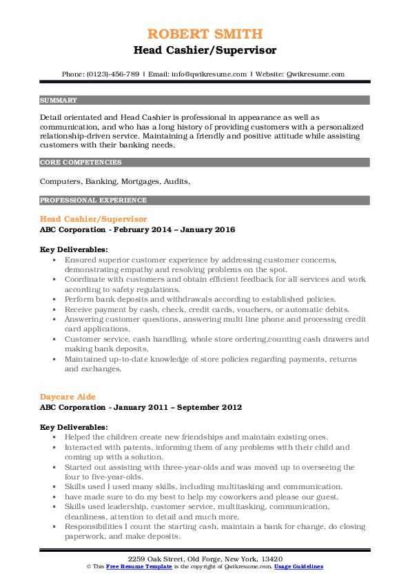 Head Cashier Resume Samples Qwikresume