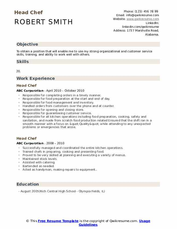 Head Chef Resume Template