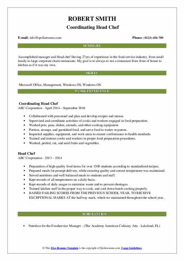 Coordinating Head Chef Resume Model