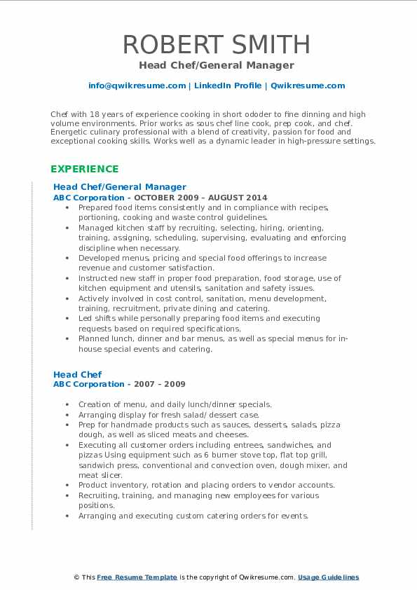 Head Chef/General Manager Resume Format