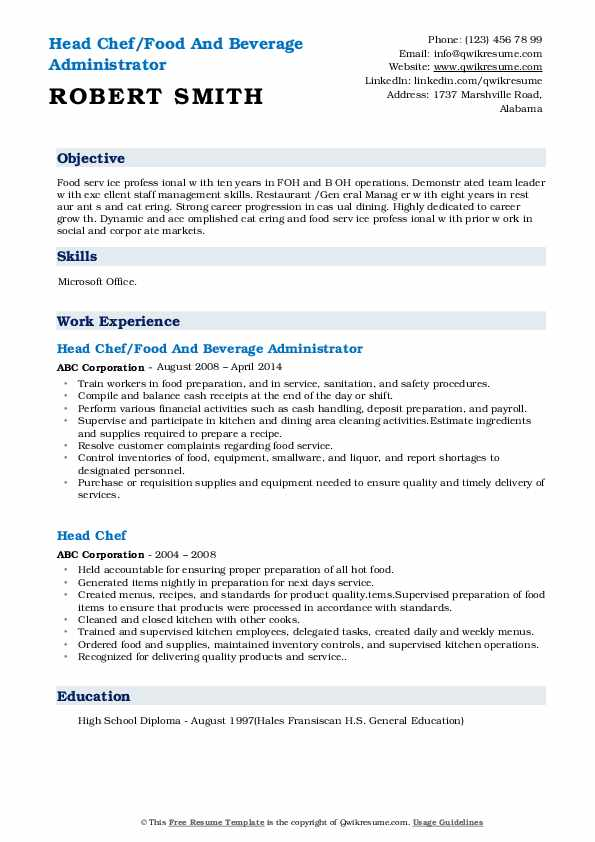 Head Chef/Food And Beverage Administrator Resume Example