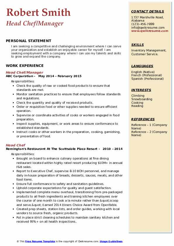 Head Chef/Manager Resume Sample