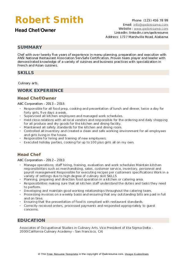 Head Chef/Owner Resume Format
