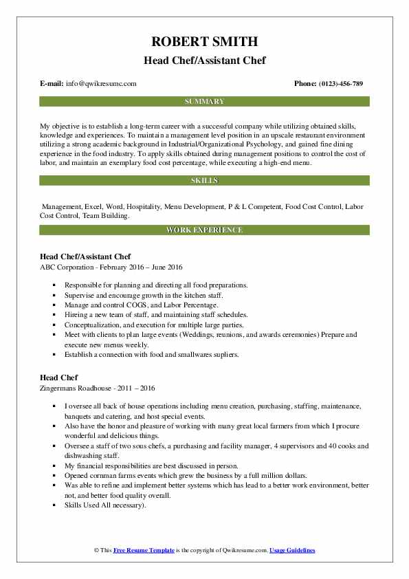 Head Chef/Assistant Chef Resume Template
