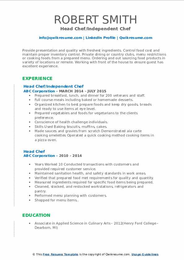 Head Chef/Independent Chef Resume Template