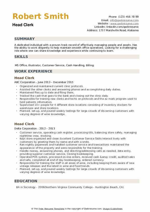 Head Clerk Resume example