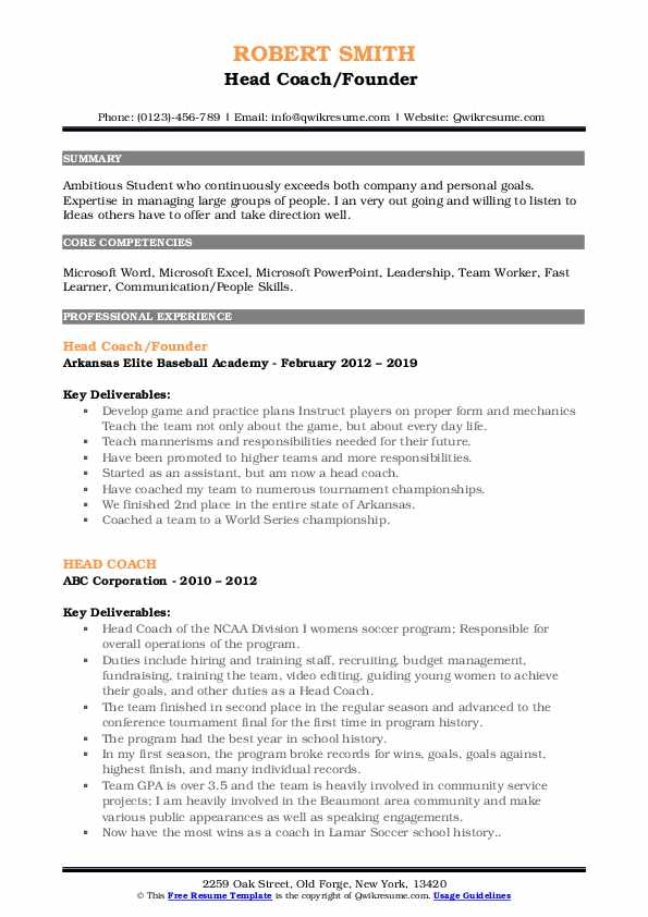 Head Coach/Founder  Resume Format