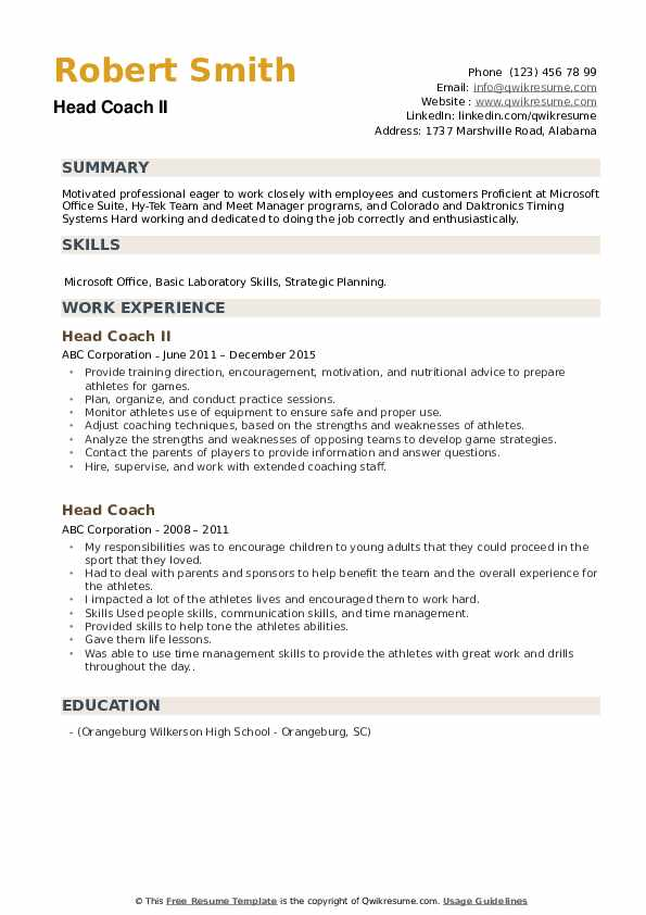 head coach resume samples