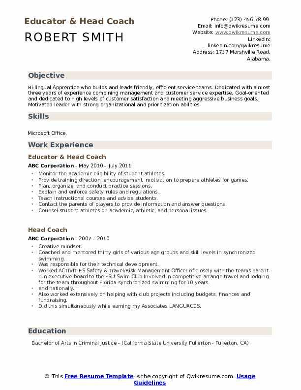 Educator & Head Coach Resume Model