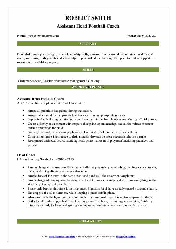 Head Coach Resume Samples | QwikResume