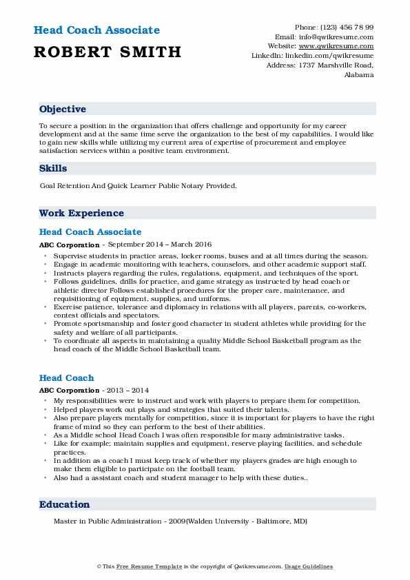 Head Coach Associate Resume Sample