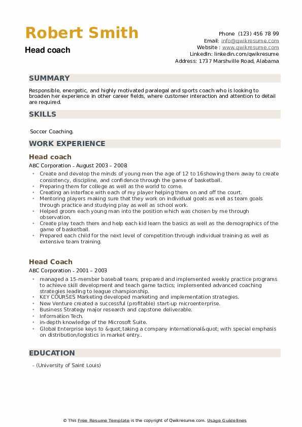 Head Coach Resume example