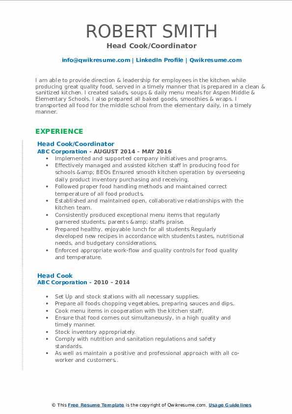 head cook resume samples