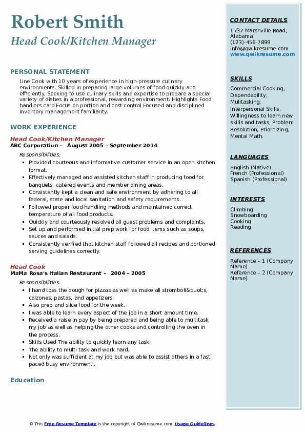 head cook resume samples  qwikresume