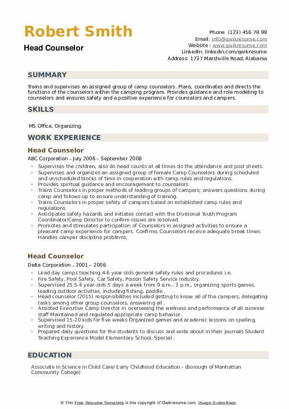 Head Counselor Resume example