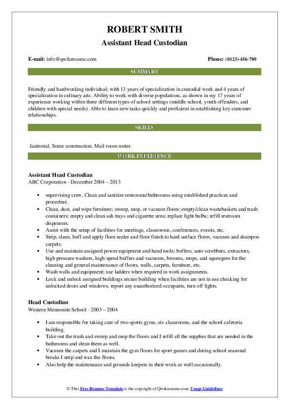 Assistant Head Custodian Resume Model