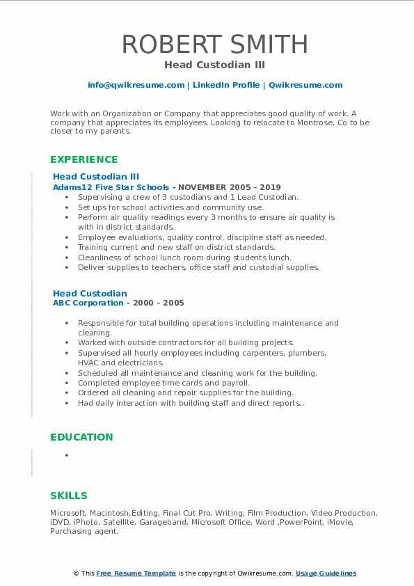 Head Custodian III Resume Model