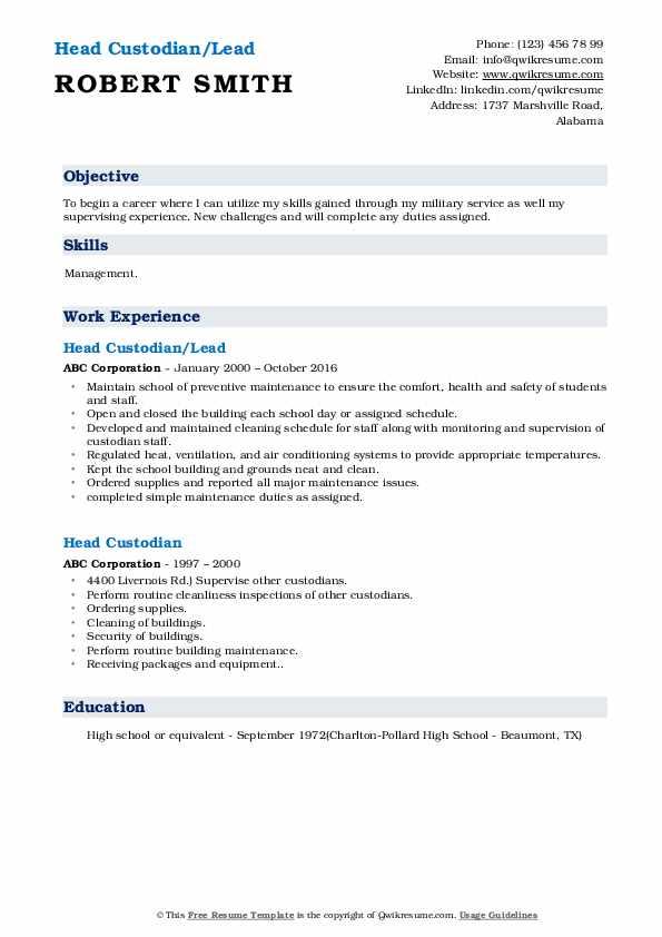 Head Custodian/Lead Resume Format