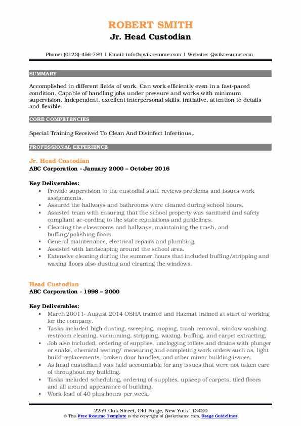 Jr. Head Custodian Resume Example