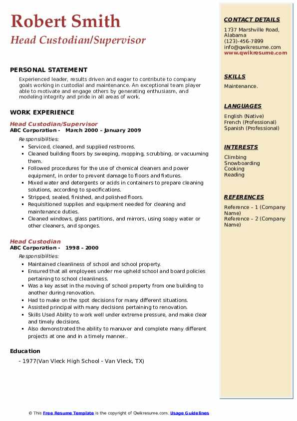Head Custodian/Supervisor Resume Sample