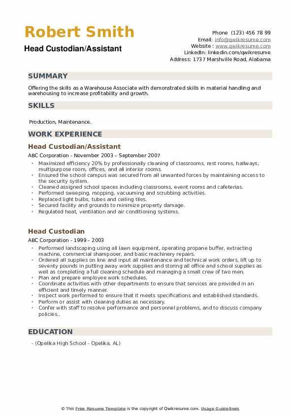 Head Custodian/Assistant Resume Example