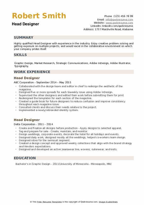 Head Designer Resume example
