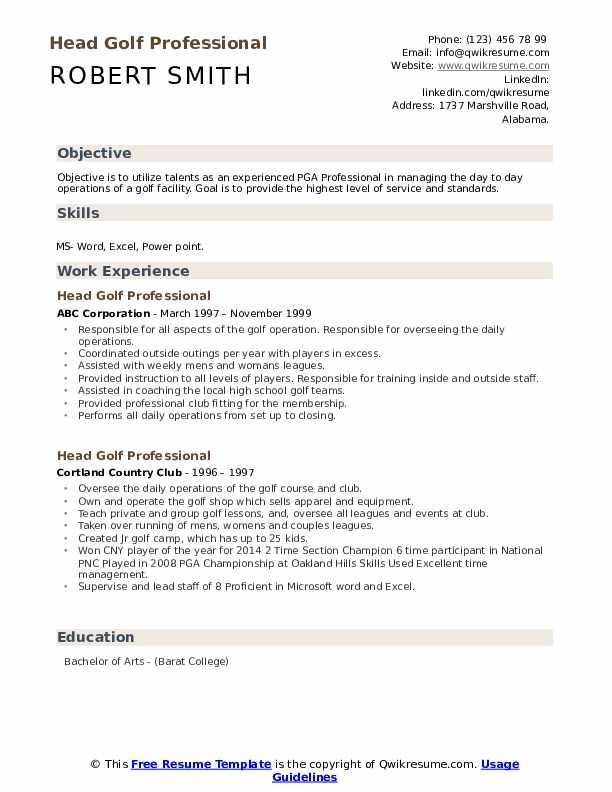 Head Golf Professional Resume example