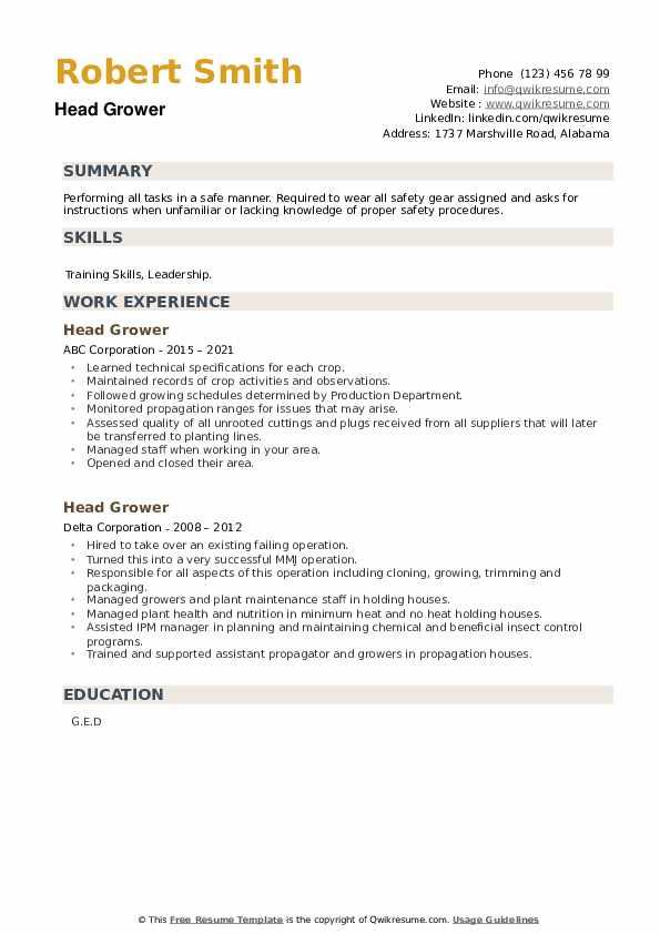 Head Grower Resume example