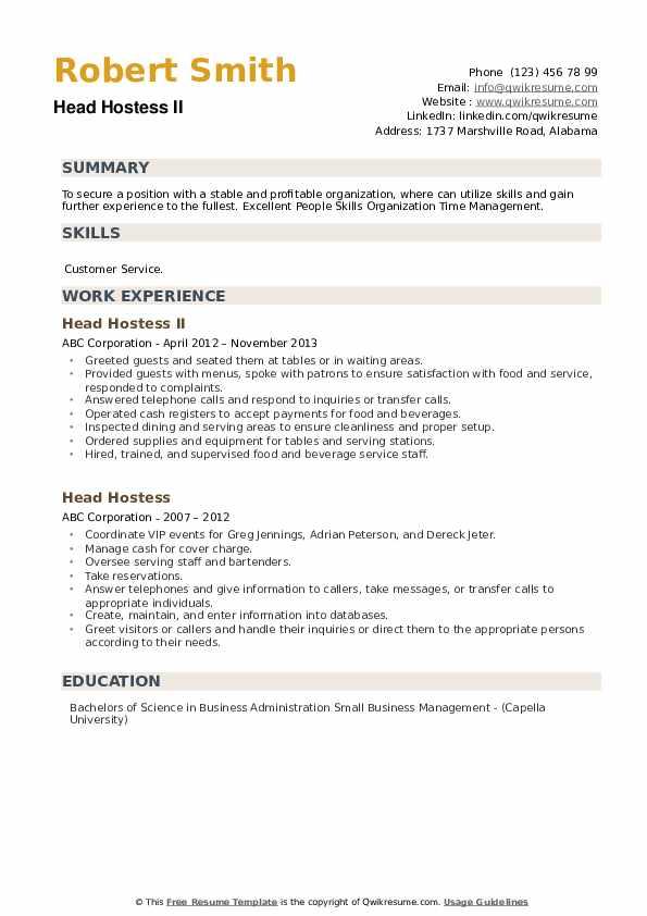 Head Hostess Resume example