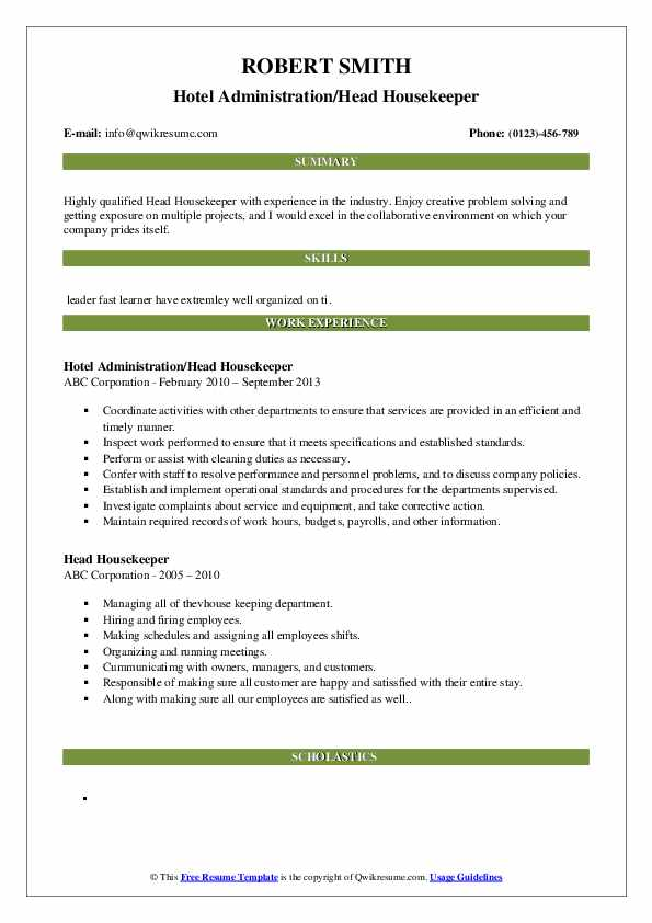 Hotel Administration/Head Housekeeper Resume Model