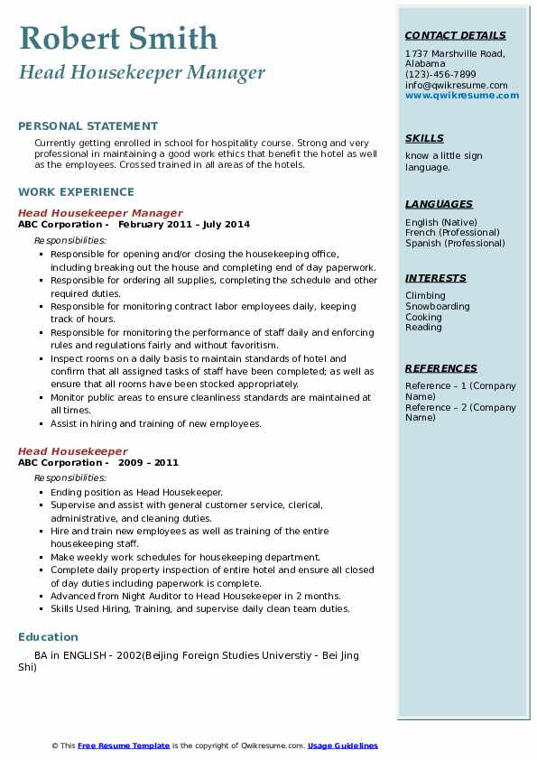 Head Housekeeper Manager Resume Model
