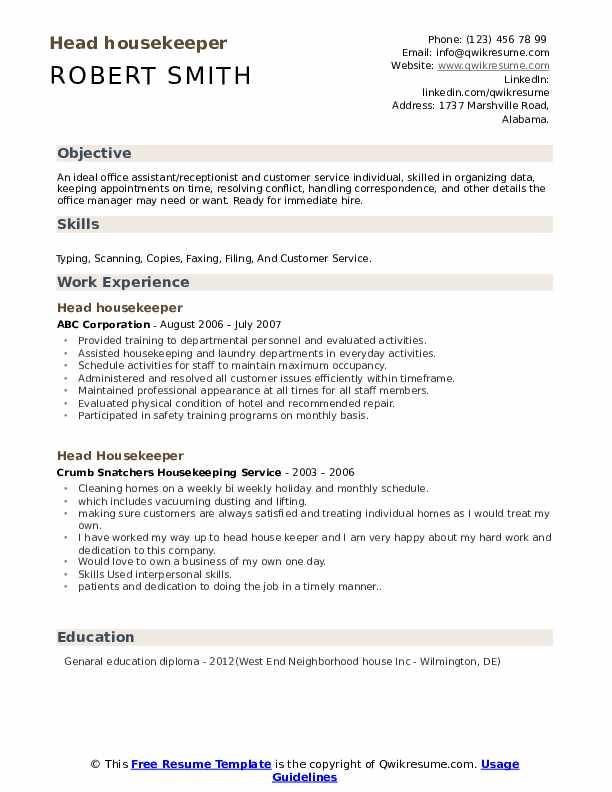 Head Housekeeper Resume example