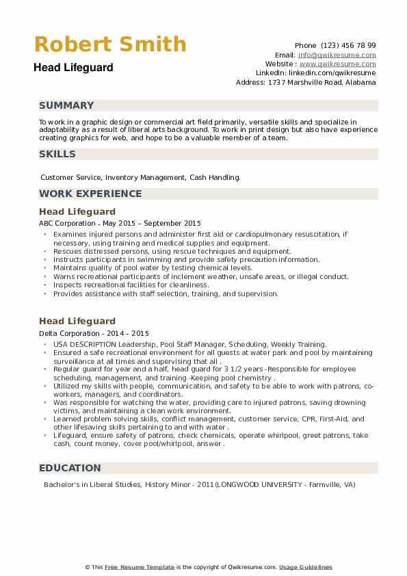 Head Lifeguard Resume example
