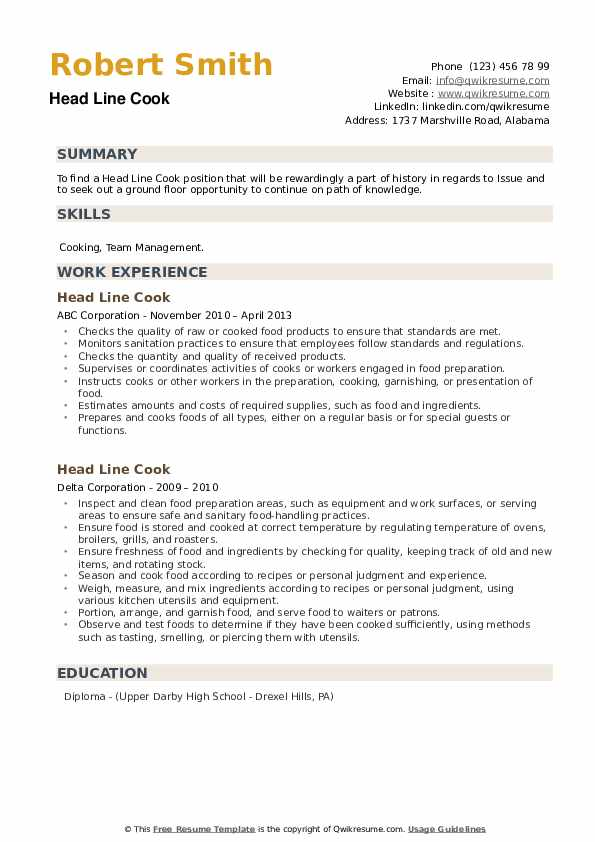 Head Line Cook Resume example